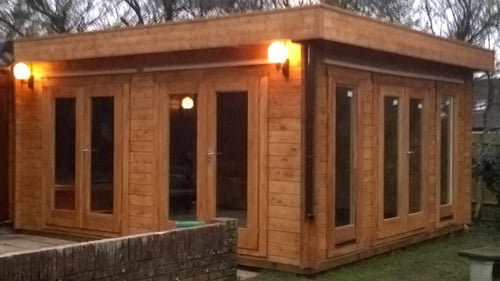 Log Cabin Extension Spa Pool Timber Building Project