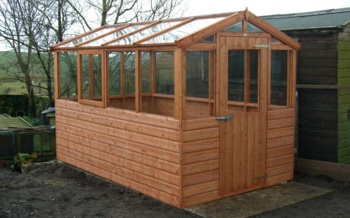 Half timber half glass greenhouse