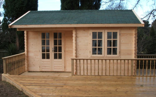 Timber garden office with decking